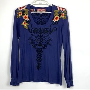 Johnny Was LA Floral Embroidered Long Sleeve Top